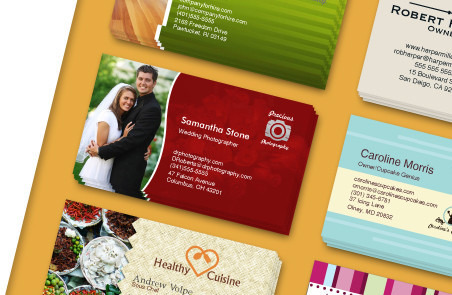 Display of sample business card designs that can be designed using our design tool