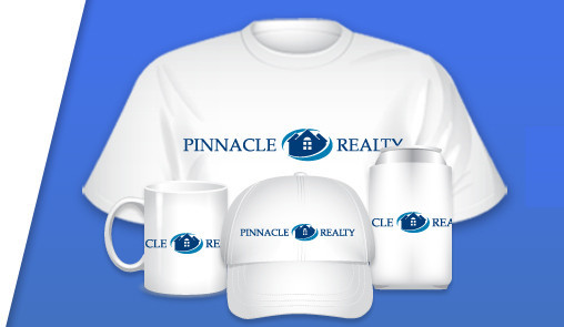 Display of promotional products that we offer customized with logo designs made using our logo maker tool tshirt mug hat cup koozie