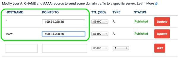 Menu of Sample DNS Server A Records