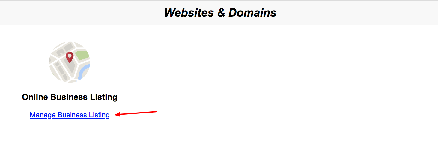 Red Arrow Pointing to Online Business Listing Management Link