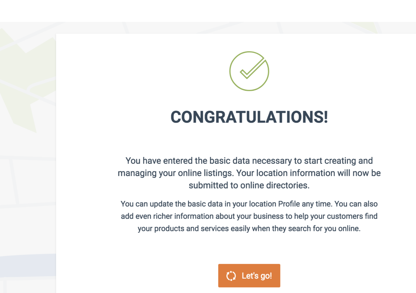 Confirmation Message that you have successly completed the basic fields for your online business listing