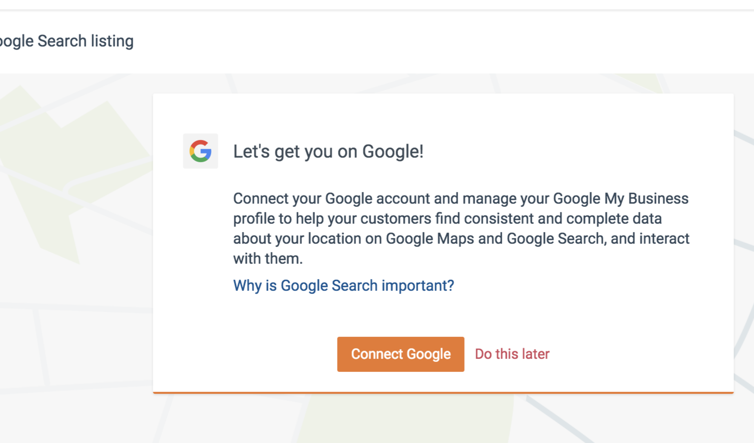 Display of the Button link to connect your business listing to Google