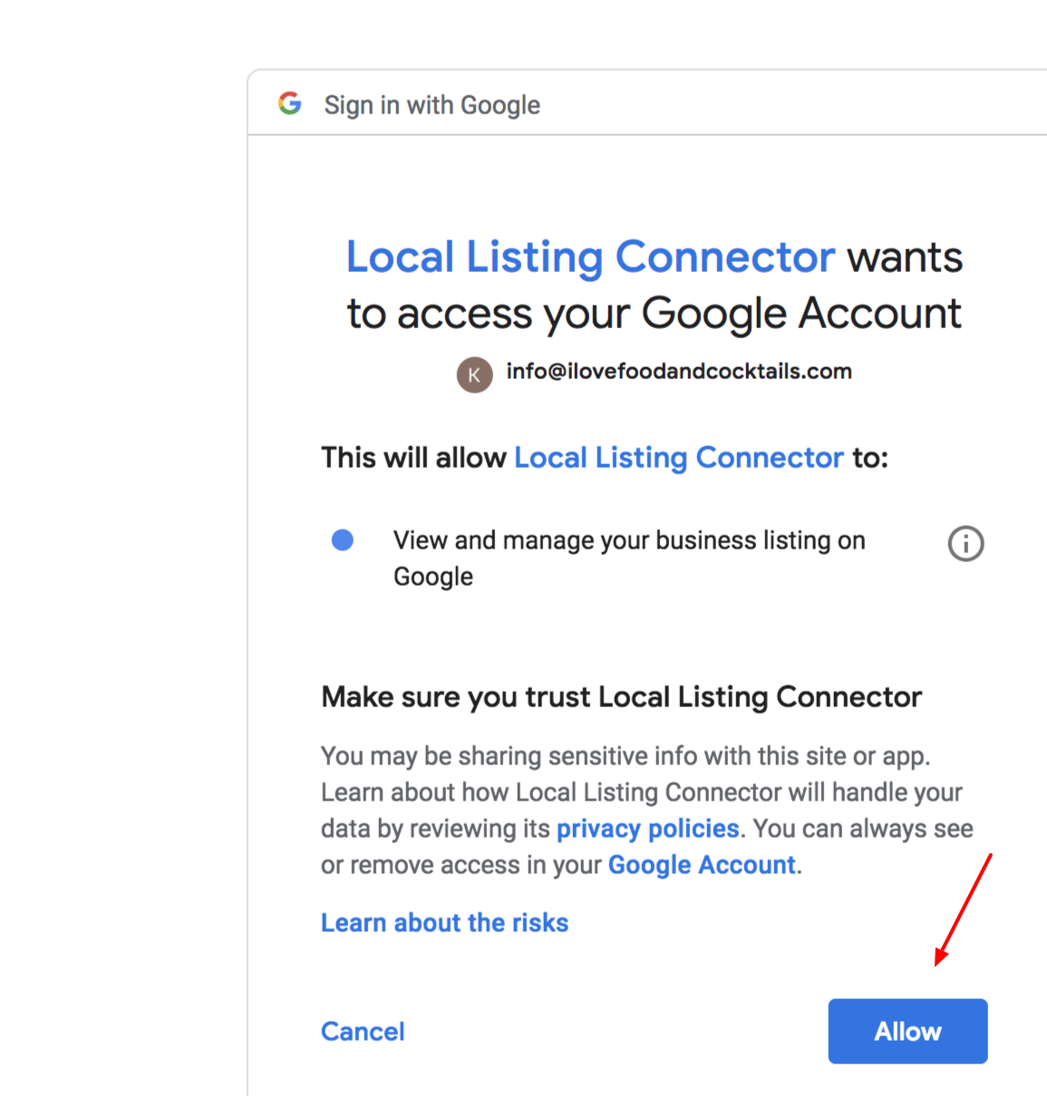Display of Google Requesting Access to your online business listing information