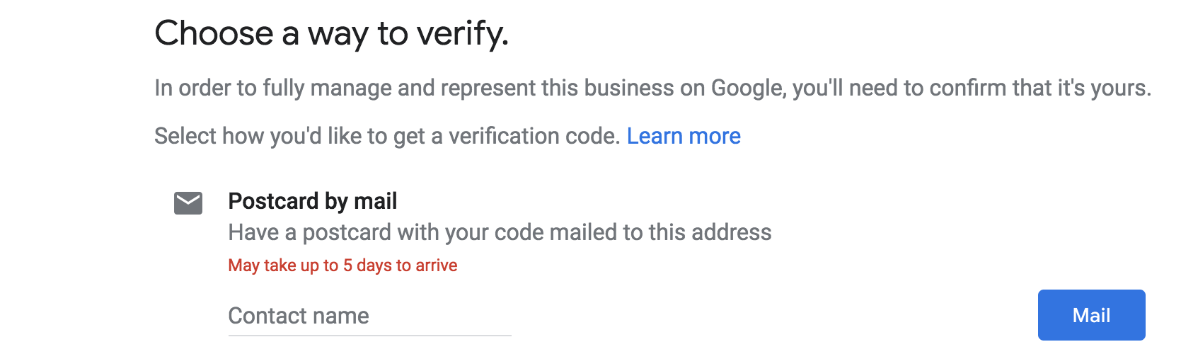 Display of Google Address Verification Methods Send A Postcard Option