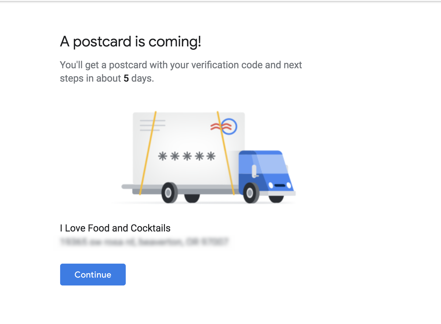 Confirmation of Google Address Request Via Postcard Request