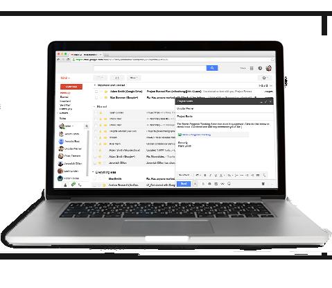 显示Gmail帐户收件箱的笔记本电脑