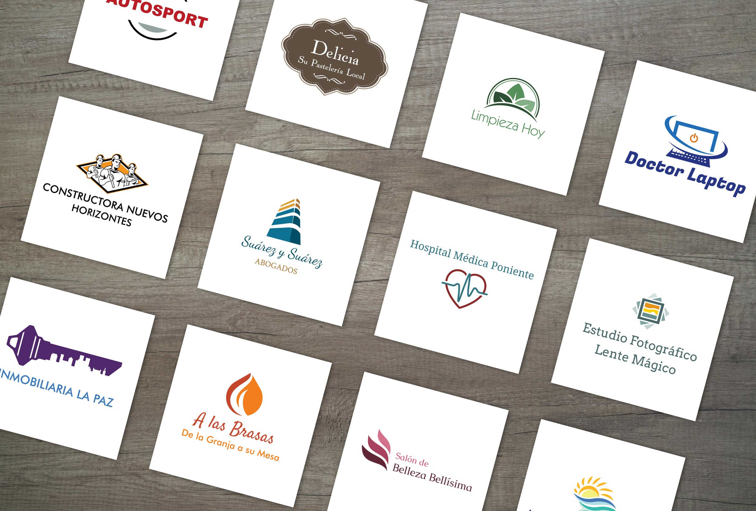 Variety of logo designs created using our logo tool